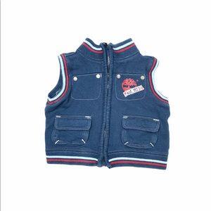 Timberland baby boy full zip vest blue 6/9 months